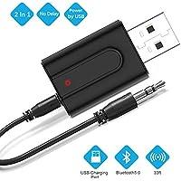 Zommuei Adaptador Bluetooth USB, Mini Receptor Bluetooth y Transmisor Bluetooth 5.0 2 en 1 Adaptador de Dongle Bluetooth con Audio Inalámbrico 3.5MM Cable para PC/TV/Auriculares/Altavoces/Radio