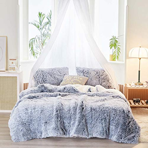 Uozzi Bedding Faux Fur Plush Shaggy Comforter Set King Alternative Microfiber,Ultra Soft Warm Duvet Set All Season Luxury 3 Piece - 1 White with Dark Gray Fur Comforter+2 Pillow Cases
