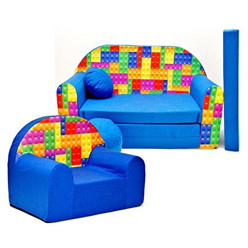 C32 Lot de 2 canapés pliants 3 en 1 pour enfants + oreiller + fauteuil