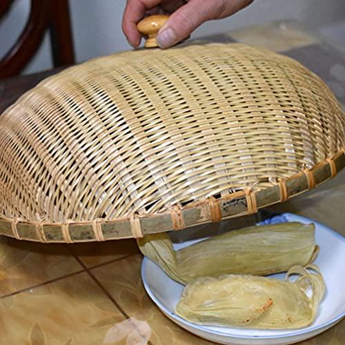 Cabilock Cubierta de La Tapa de La Cúpula de La Comida de Madera Tejida Cesta de Pan Reutilizable Paraguas de Comida de Picnic Protector de Alimentos Gran Granja Wok Tapa de La Placa de