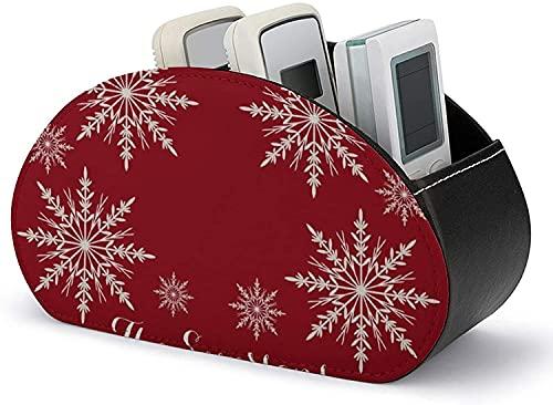 Soportes para control remoto de TV Copos de nieve blancos sobre rojo con 5 compartimentos Organización de oficina de cuero de PU y almacenamiento para gafas de lápiz y reproductor multimedia