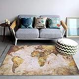 Zerodis Alfombra de mapa del mundo vintage creativa con diseño de mapa del mundo,...
