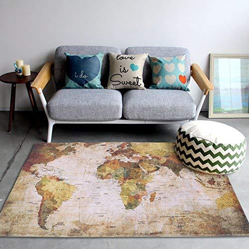 Zerodis - Alfombra vintage con mapa del mundo, diseño de mapas del mundo, suave, antideslizante, para porche, baño, sala de estar, dormitorio, decoración