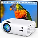Mini Projector, Vili Nice 6000L Outdoor Movie Projector with 100 Inch Projector Screen, 1080P and 240' Display Supported, Portable Video Projector Compatible with TV Stick, PS4, HDMI, USB, VGA