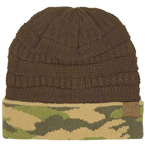 CC Winter Fall Trendy Chunky Stretchy Cable Knit Beanie Hat (Camouflage Brown)