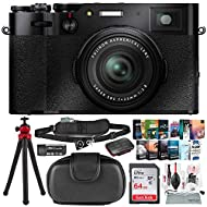 "FUJIFILM X100V Digital Camera (Black) + Case, 64GB SD Card, SD Card Case, 12"" Tripod, Xpix Quick Release Strap, Xpix Card Reader/Writer, Professional Photo Editing Software & Xpix Deluxe Cleaning Kit"