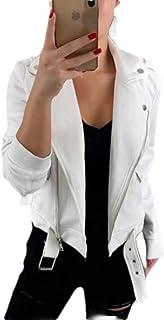 Women's Casual Notched Collar Oblique Zipper Moto Biker Jacket Coat