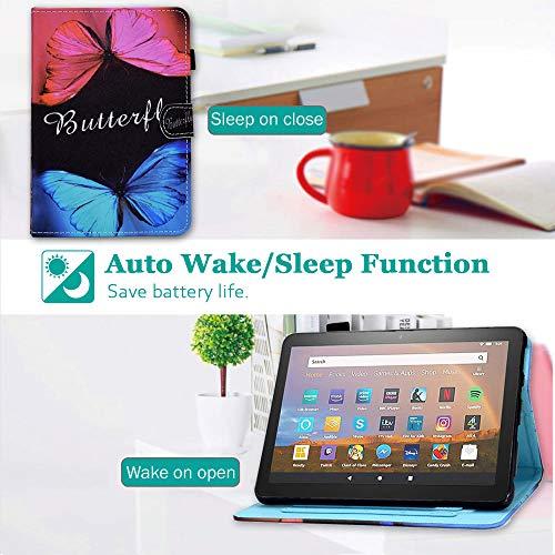 Billionn Hülle für Amazon Fire HD8 2020 und HD8 Plus 2020 Tablet (10. Generation, Version 2020), Smart Stand-Hülle [Anti-Rutsch-Streifen] [Auto Sleep/Wake], Schmetterlingsliebe