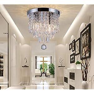 Riomasee Mini Chandelier Flush Mount Crystal Ceiling Light 2 Lights Modern Chrome Crystal Light Fixtures for Bedroom,Hallway,Closet,Girls Room,Kitchen