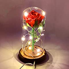 This rose is wrapped with Warm White LED Strip with an USB Plug which is Safety, Durable and Heat-resistant. It comes assembled and ready to use. Adoption of premium glass, the lampshade is clear and durable. The equipment can be easily disassembled,...