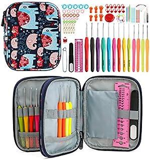 Ensemble De Crochets,Kit D'aiguilles à Tricoter Au Crochet avec,Accessoires pour Outils à Tricoter avec étui,Set Crochets ...