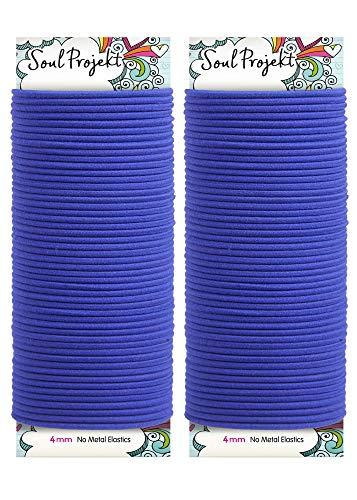 Soul Projekt Haargummis 100 Stück 4mm, Ohne Metall, Starke Elastische Haarbänder für viele Frisuren/Pferdeschwanz, Flechten, Ponytail & Haarknoten für Schule, Arbeit oder Fitnessstudio (Blau)