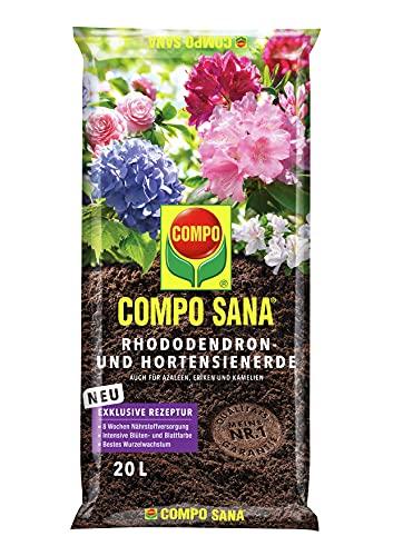 COMPO SANA Rhododendron- und Hortensienerde mit 8 Wochen Dünger für alle Azaleen, Eriken, Kamelien und Hortensien, Kultursubstrat, 20 Liter, Braun