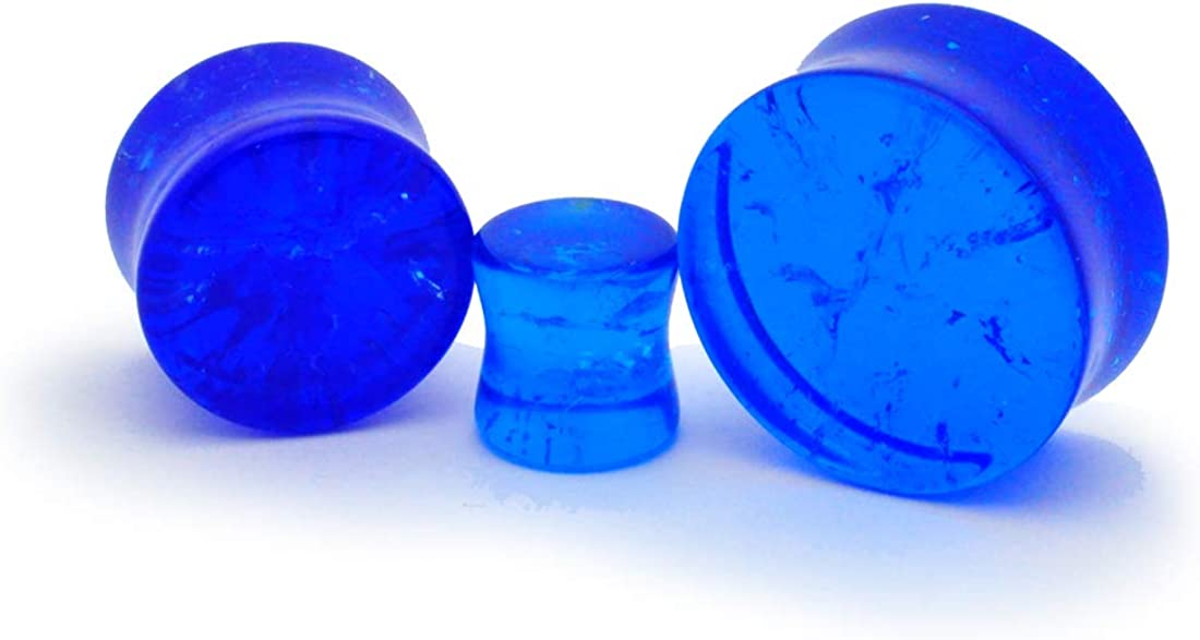 Mystic Metals Body Jewelry Pair of Blue Crackle Glass Plugs - Sold as a Pair (PG-526)