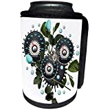 3dRose Dooni Designs Steampunk Designs - Cool Steampunk Barometer and Aqua Roses - Can Cooler Bottle Wrap (cc_102671_1)