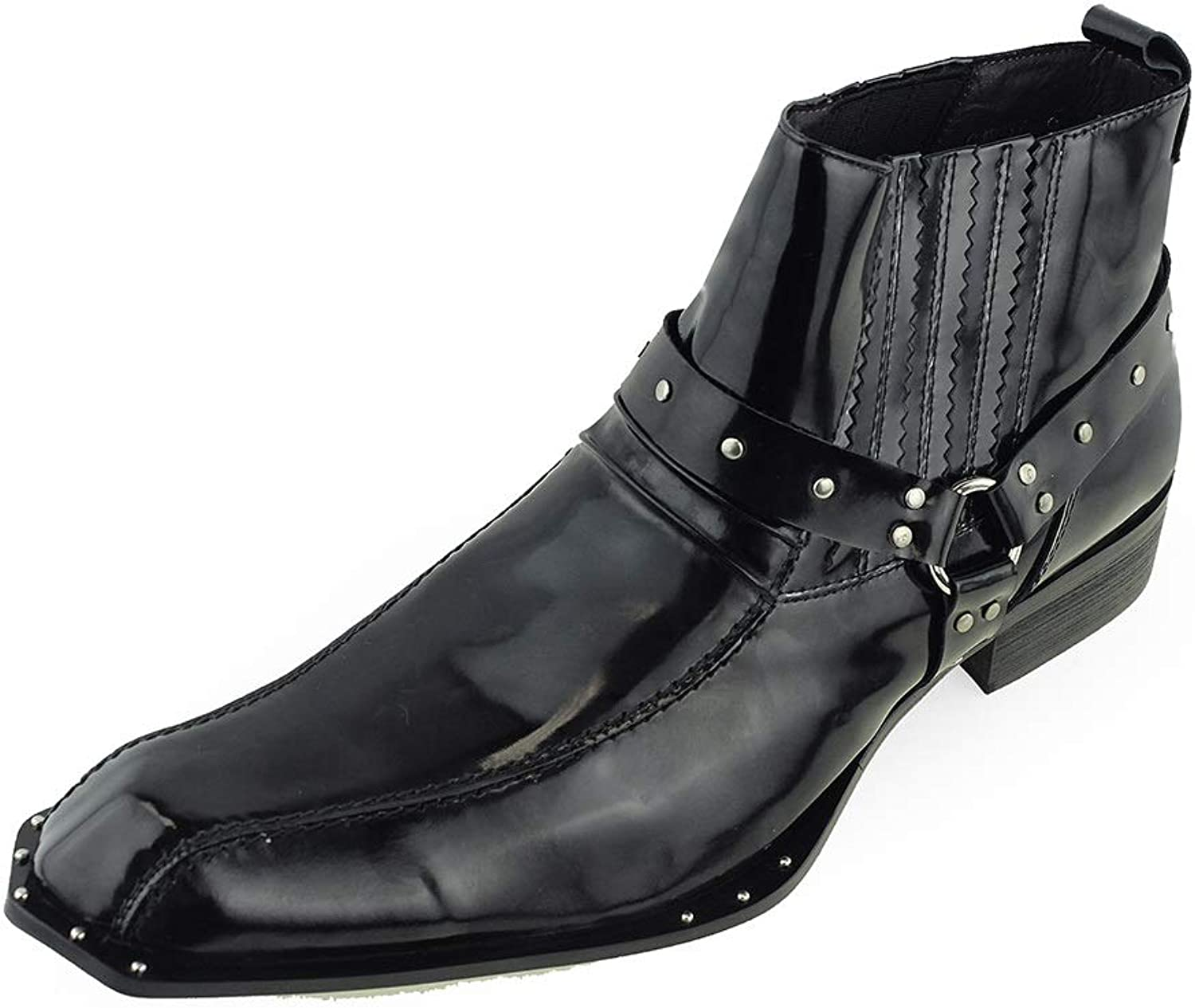 Men's Unique Ankle Boots Square Toe Studs (color   Black, Size   12.5 UK)