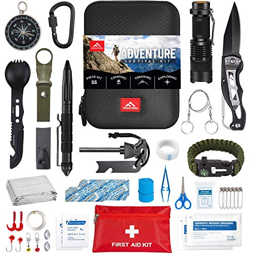Survival Kit by FRONTERA, 55 Pcs, Survival Gear and Equipment, Camping Accessories,Tactical Gear,...