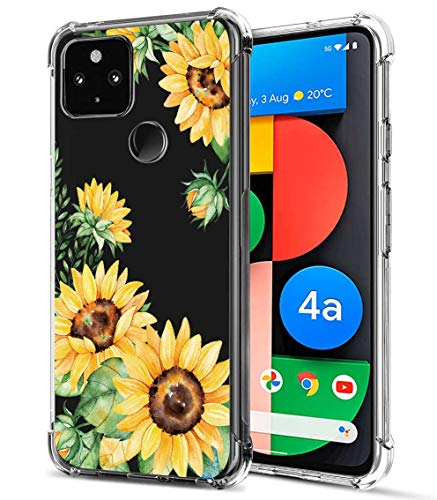 FollmeAir for Pixel 4a 5G Case, Slim Flexible TPU for Girls Women Airbag Bumper Shock Absorption Rubber Soft Silicone Case Cover Fit for Google Pixel 4A 5G (Sunflower/Yellow)