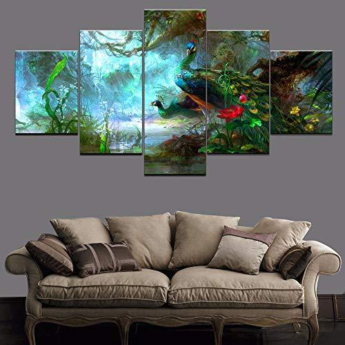 Cuadros de lienzo Decoración para el hogar para la sala de estar 5 piezas Pinturas de pavo real de animales verdes Arte de pared Impresiones en HD modulares Marco de póster
