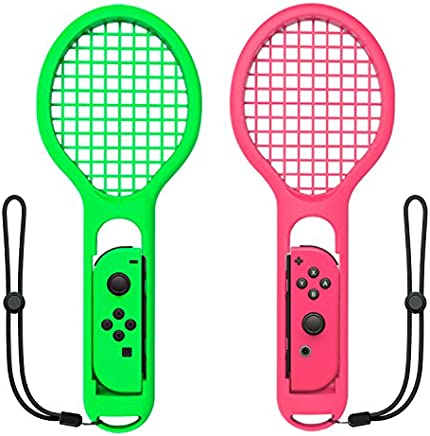 Tennis Racket Compatible with Nintendo Switch Joy-Con Controller,Accessories Compatible with Nintendo Switch Game Mario Tennis Aces Green and Pink - Only Use for Swing Mode on Nintendo Switch