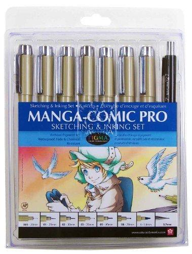 Sakura 50203 Pigma Manga Comic Pro - Kit de Dibujo (8 Piezas)