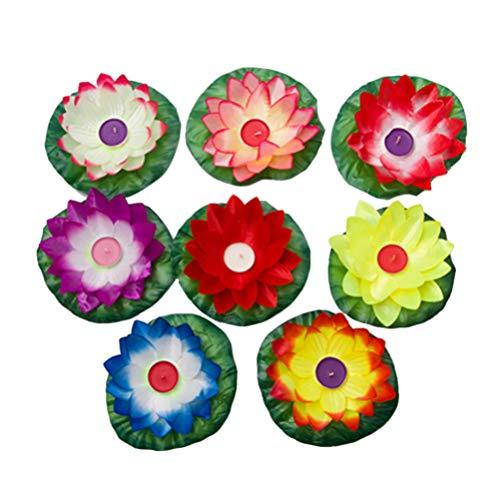 Uonlytech 30pcs Lotus Laterne Schwimmende Lotusblüte Schwimmkerzen Lotusblume mit Teelichter Garten Teich Terrasse Pool Schwimmbad Fluss Party Dekoration Zufällige Farbe