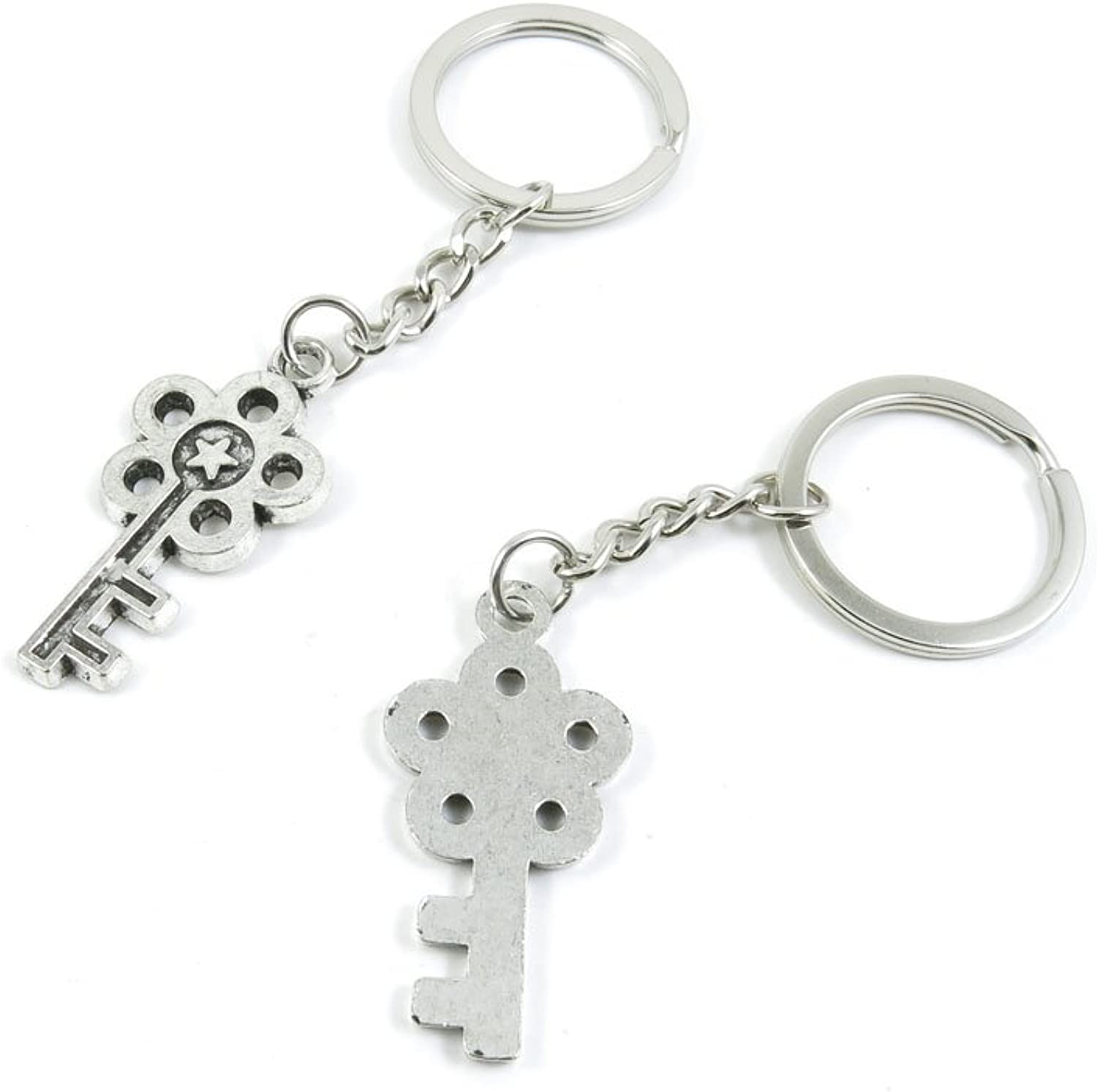 100 Pieces Keychain Keyring Door Car Key Chain Ring Tag Charms Bulk Supply Jewelry Making Clasp Findings R5MB9U Star Skeleton Key