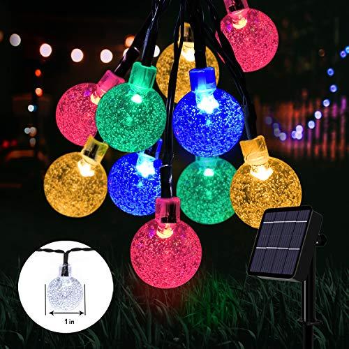 Solar Lights Garden, 60 LED Outdoor String Lights Multi-Coloured Crystal Ball Fairy Lights 36Ft Waterproof Decorative Lighting for Garden, Patio, Yard, Christmas [Energy Class A++]