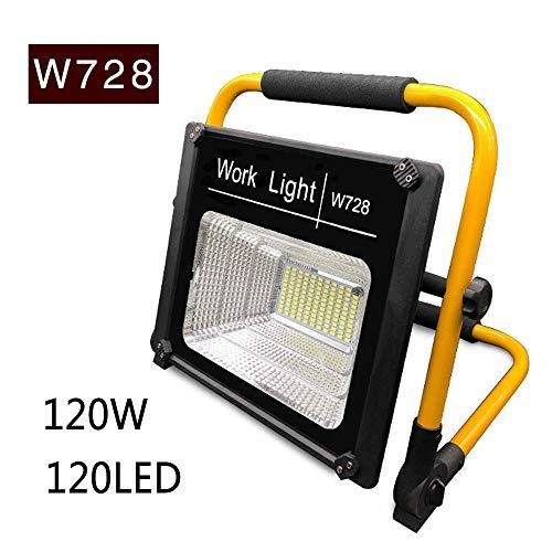 dami Foco LED Proyector, Camping 120W, Lámpara Proyector 120LED, Luz Portátil para Trabajo de Noche, Recargable