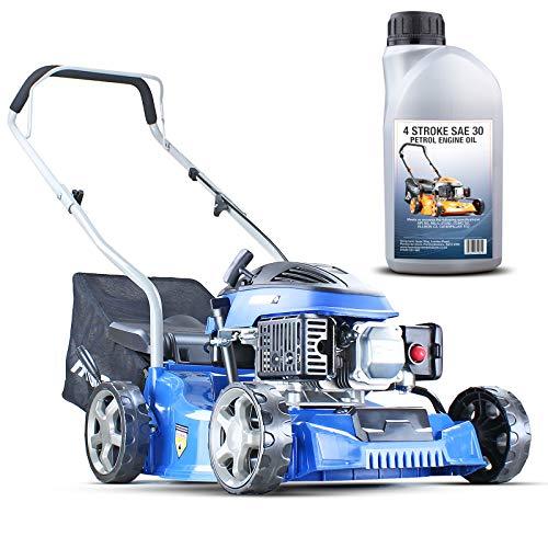 Hyundai Lightweight 40cm 79cc 4 Stroke Push Rotary Petrol Lawnmower, 7 Cutting Central Height Adjustment Lawn Mower, Rust Proof Deck, Easy Storage, 3 Year Warranty.