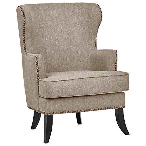 Ravenna Home Valmay Wingback Nailhead Trim Accent Chair, 28'W, Linen