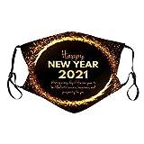 757 Staubschutz Schal Neujahr 2021 Print Waschbar Wiederverwendbar Mundschutz Bandana Atmungsaktive Mund und Nasenschutz Halstuch für Damen und Heren(5 Stück+10 Filter)