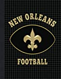 """New Orleans Fleur De Lis Football ~ College Ruled Dotted Graph Composition Notebook: Journal, Diary, Sketch Book   100 Pages (double-sided)   8.5"""" x 11""""   White Pages - Black Dotted Lines"""