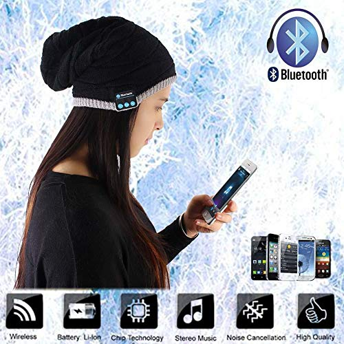 Oliwui Men Women Winter Outdoor Bluetooth Stereo Music Hat Wireless Bluetooth Mic B Warm Beanie Cap