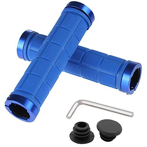 MTB Griffe Lenkergriffe Fahrrad Griffe Rutschfest Fahrradgriffe, BMX Griffe für Kinder und Erwachsene, Weich Gummi Lenker Griff Komfortable Stoßfest Handgriffe für Mountainbike/Rennrad - 130mm (Blau)