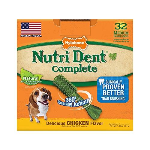 Nylabone Nutri Dent Adult Chicken Dog Treats, Medium, 32 Count