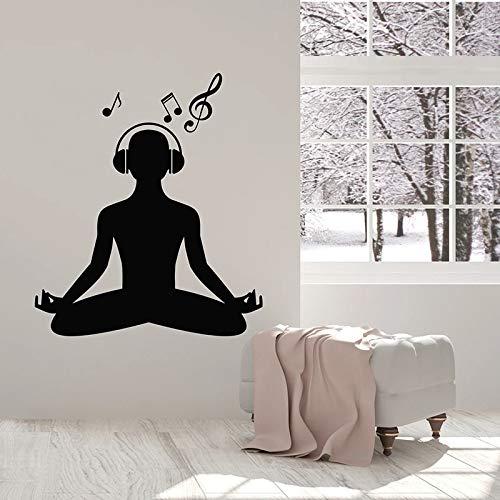 Yoga pose pared calcomanía auriculares música meditación meditación interior decoración de interiores vinilo ventana pegatina silueta papel tapiz