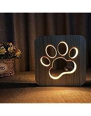 LED Nachtlampje Dier Nachtlampje Houten Gesneden USB Lamp Creatieve Poot Print Tafellamp Houten Nachtlampje 3D Lamp Hond Poot Kat Nachtlampje