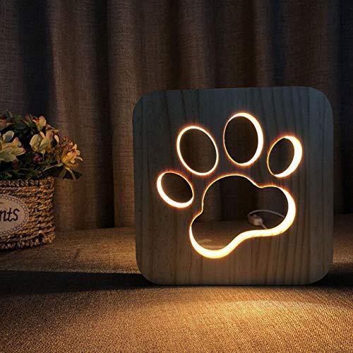 Veilleuse de nuit USB en bois sculpté motif 3D patte d'animal Griffe pour chat.