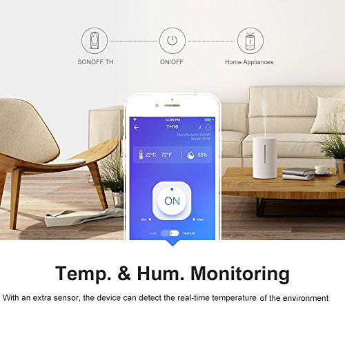 Sonoff TH10 WiFi Smart Switch with Temperature Monitoring,Works with Alexa & Google Assistant(with DS18B20)