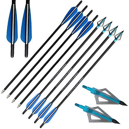 "AMEYXGS 12pcs Armbrustbolzen Mixed Carbon Armbrust Pfeile 16\"" 17\"" 18\"" 20\"" 22\"" für Armbrust Jagd und Bogenschießen Praxis (Blau, 20\"")"