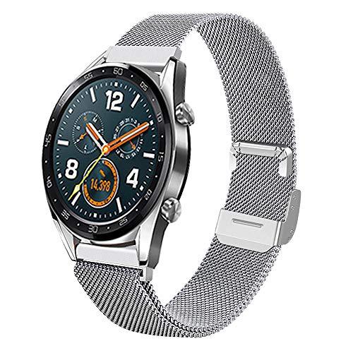 Coholl Correa Compatible con Huawei Watch GT 2/Huawei 46mm Sport/Classic/Active/Elite,Pulsera de Acero Inoxidable Correas Ajustables Reemplazo muñeca para Reloj,Mesh-Plate