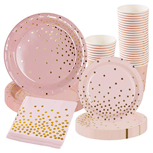 Pink Gold Party Supplies Disposable Tableware - 96Pcs Paper Dinnerware,Paper Plates, Cutlery,Napkins,Cups for Wedding,Girl Birthday Party,Baby Shower,Serves 24