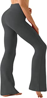 "BUBBLELIME 29""/31""/33""/35""/37"" Inseam Bootcut Yoga Pants High Waist Moisture Wicking Long Bootleg - Gray - X-Large (33"" In..."