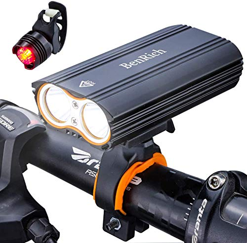 BenRich Mountain Bike Lights Set 2400 Lumens Cree XML-T6 LED USB Rechargeable, Waterproof Cycling Road Bicycle Light Headlight Front and Back Rear Light for Night Riding