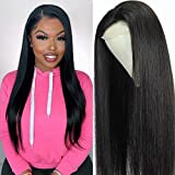 18 Inch Straight Lace Front Wig Human Hair Pre Plucked Bleached Knots with Baby Hair 150% Desnity 4x4 Lace Closure Human Hair Wig Brazilian Virgin Straight Closure Wigs For Black Women Mengkai Hair