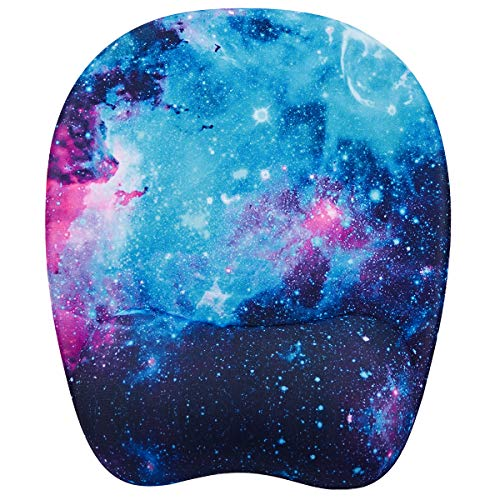 Ergonomic Mouse Pad, Memory Foam Mouse Pad with Wrist Rest Support, Gaming Mouse Pad with Lycra Cloth, Non-Slip PU Base Ergonomic Design for Laptop,Desktop Computer (Galactic)