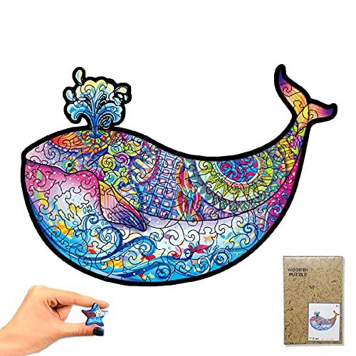 KF Puzzle in Legno Animale Balena, A4 Puzzle Forme Animali a Incastro (110 Pezzi), Puzzle Animali Wooden Colorati Stampa HD 3D per Adulti Bambini, Miglior Regalo per Puzzle di Decorazione Casa Ufficio