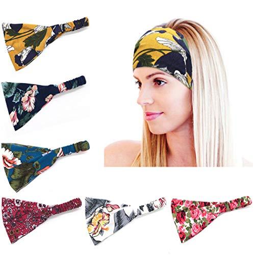 Zoestar Boho-Yoga-Stirnbänder, breit, modisch, bedruckt, elastisch, Sport-Haarbänder für Frauen (6 Stück)