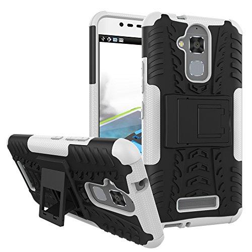 TiHen Handyhülle für Asus Zenfone 3 Max ZC520TL Hülle, 360 Grad Ganzkörper Schutzhülle + Panzerglas Schutzfolie 2 Stück Stoßfest zhülle Handys Tasche Bumper Hülle Cover Skin mit Ständer -Weiß
